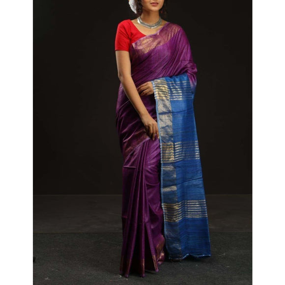 Handwoven pure Tussar silk saree in purple and blue color - Tussar Silk Sarees