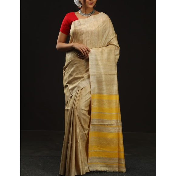Handwoven pure Tussar silk saree with different color options - Beige with yellow - Tussar Silk Sarees