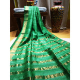 Handwoven pure Tussar silk saree with different color options - Green - Tussar Silk Sarees