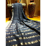 Handwoven pure Tussar silk saree with different color options - Greyish Black - Tussar Silk Sarees