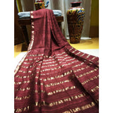 Handwoven pure Tussar silk saree with different color options - Maroon - Tussar Silk Sarees