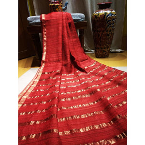 Handwoven pure Tussar silk saree with different color options - Red - Tussar Silk Sarees