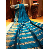 Handwoven pure Tussar silk saree with different color options - Sky blue - Tussar Silk Sarees