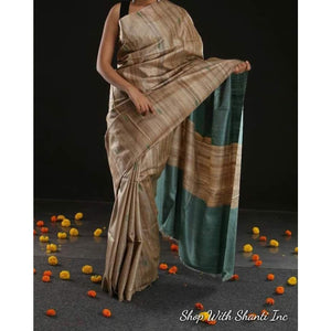 Handwoven pure Tussar silk saree with ghicha pallu in beige and blue color - Tussar Silk Sarees