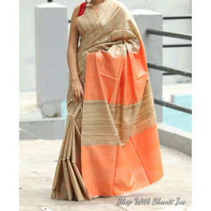 Handwoven pure Tussar silk saree with ghicha pallu in beige and orange color - Tussar Silk Sarees