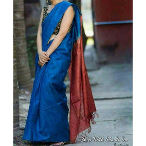 Handwoven pure Tussar silk saree with ghicha pallu in blue and maroon color - Tussar Silk Sarees
