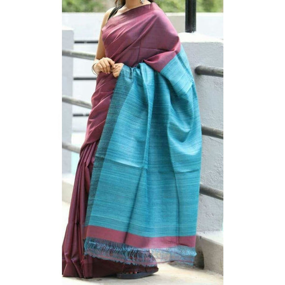 Handwoven pure Tussar silk saree with ghicha pallu in burgandy and blue color - Tussar Silk Sarees