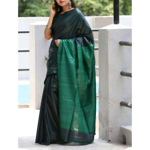 Handwoven pure Tussar silk saree with ghicha pallu in dark green and green color - Tussar Silk Sarees