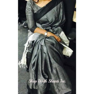 Handwoven pure Tussar silk saree with ghicha pallu in gray and black color - Tussar Silk Sarees