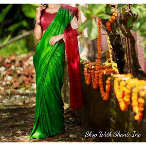 Handwoven pure Tussar silk saree with ghicha pallu in green and red color - Tussar Silk Sarees