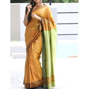 Handwoven pure Tussar silk saree with ghicha pallu in mustard yellow and green color - Tussar Silk Sarees