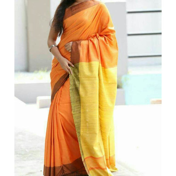 Handwoven pure Tussar silk saree with ghicha pallu in orange and yellow color - Tussar Silk Sarees