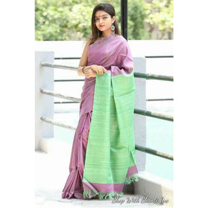 Handwoven pure Tussar silk saree with ghicha pallu in purple and green color - Tussar Silk Sarees