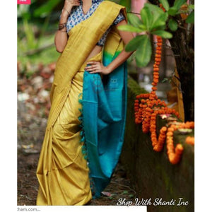 Handwoven pure Tussar silk saree with ghicha pallu in yellow and blue color - Tussar Silk Sarees