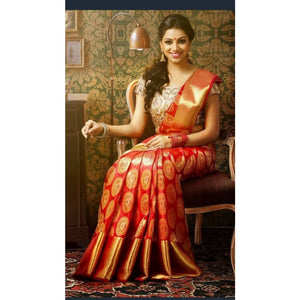 Kanchipuram red handwoven pure silk saree with big golden zari border and zari designed pallu - Kanchipuram silk saree