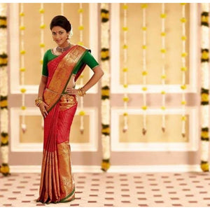 Kanchipuram red with green handwoven pure silk saree with big golden zari border - Kanchipuram silk saree