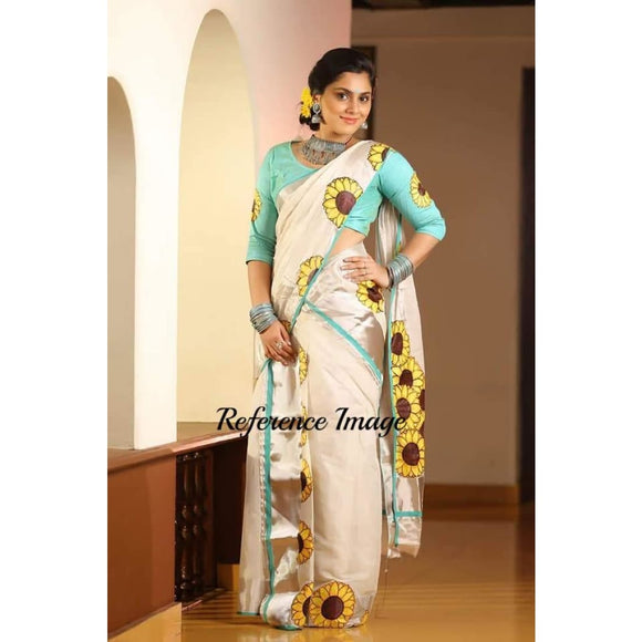 Kerala off-white semi tissue handwoven and hand painted floral designed two piece saree - Kerala Handwoven sarees