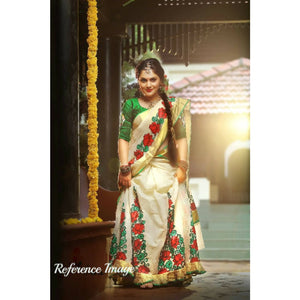 Kerala off-white with green and red semi tissue handwoven and hand painted mural designed half saree - Kerala Handwoven sarees