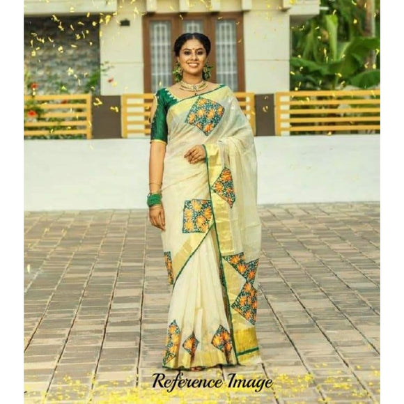 Kerala off-white with green semi tissue handwoven and hand painted mural designed saree - Kerala Handwoven sarees