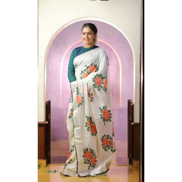Kerala off-white with silver zari border semi tissue handwoven and hand painted floral designed saree - Kerala Handwoven sarees