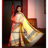Kerala off-white with zari border semi tissue handwoven and hand painted mural designed saree - Kerala Handwoven sarees