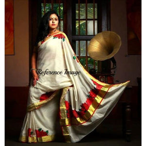Kerala off-white with zari handwoven and hand painted floral designed saree - Kerala Handwoven sarees