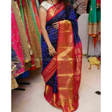 Kuppadam blue with red handwoven silk saree - Kuppadam Silk Sarees