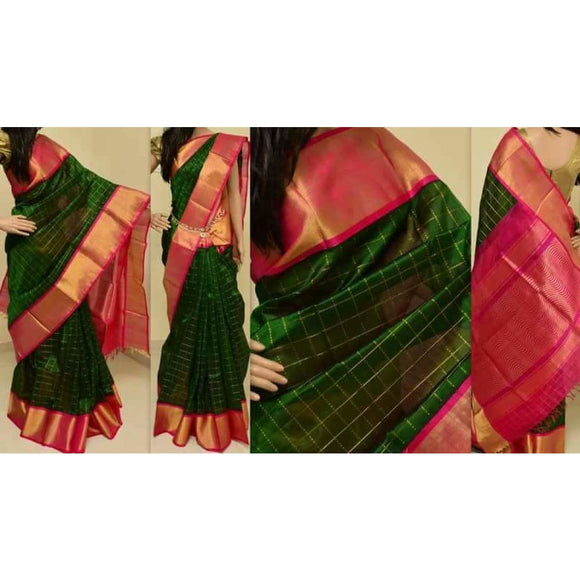 Kuppadam dark green with pink handwoven silk saree - Kuppadam Silk Sarees