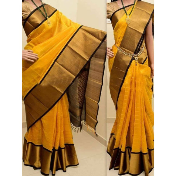 Kuppadam yellow with black handwoven silk saree - Kuppadam Silk Sarees