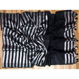 Linen 100 count black and white striped pure organic handwoven saree - Organic Linen sarees