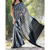 Linen 100 count black and white striped pure organic handwoven saree - Black and white - Organic Linen sarees