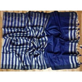 Linen 100 count black and white striped pure organic handwoven saree - Blue and white - Organic Linen sarees