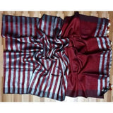 Linen 100 count black and white striped pure organic handwoven saree - Maroon and white - Organic Linen sarees