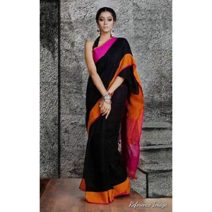 Linen 100 count black with orange and pink border pure organic handwoven saree - Organic Linen sarees