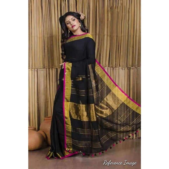 Linen 100 count black with pink and gold zari border pure organic saree - Organic Linen sarees