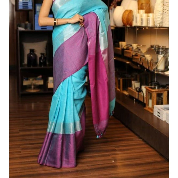 Linen 100 count blue with purple pure organic handwoven saree with silver zari - Organic Linen sarees