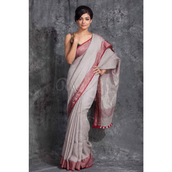 Linen 100 count gray pure organic handwoven saree with maroon zari border - Organic Linen sarees