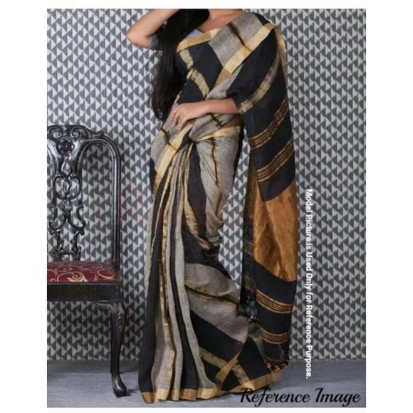 Linen 100 count gray with black striped gold zari border pure organic handwoven saree - Organic Linen sarees
