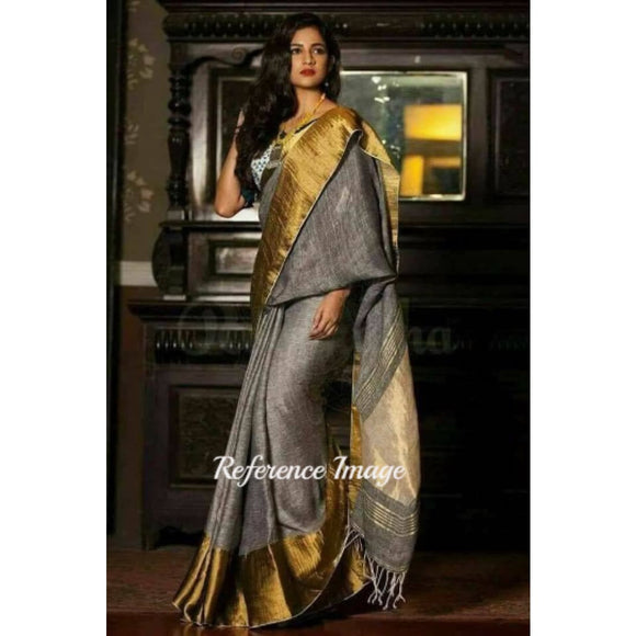 Linen 100 count gray with golden zari border pure organic handwoven saree - Organic Linen sarees