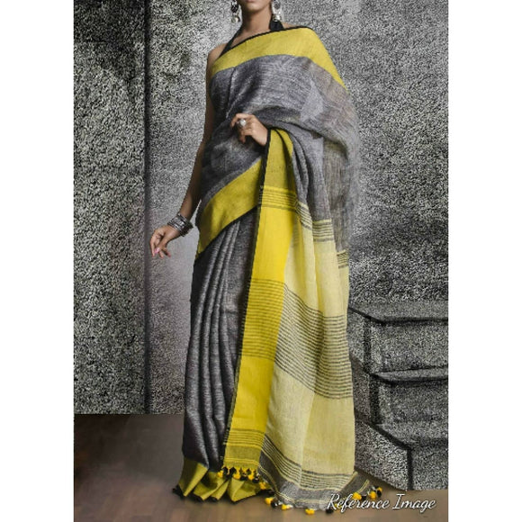 Linen 100 count Gray with yellow pure organic handwoven saree - Organic Linen sarees