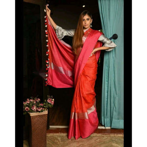 Linen 100 count orange with pink pure organic handwoven saree with silver zari - Organic Linen sarees