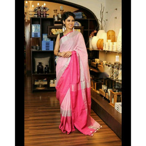 Linen 100 count pale pink pure organic handwoven saree with silver zari - Organic Linen sarees