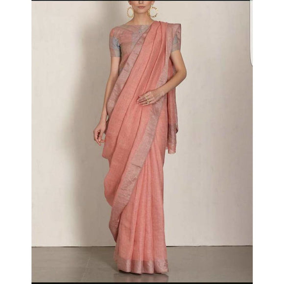 Linen 100 count peach with silver zari border pure organic handwoven saree - Organic Linen sarees