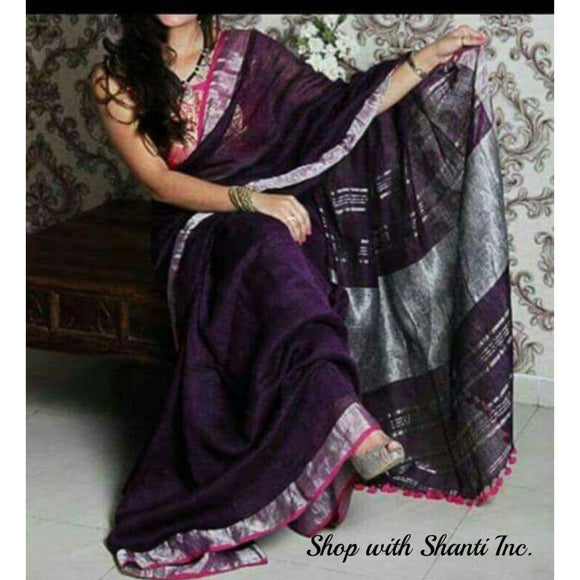 Linen 100 count purple with silver zari border pure organic handwoven saree - Organic Linen sarees