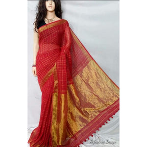Linen 100 count red with small zari cheks and gold zari border pure organic handwoven saree - Organic Linen sarees