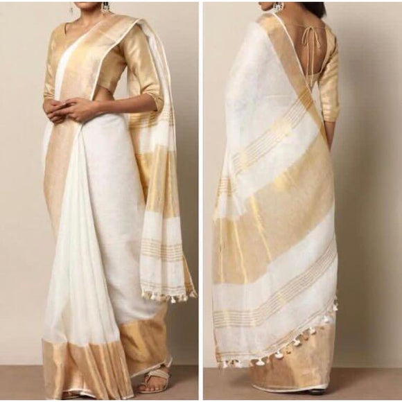 Linen 100 count white with gold wide zari border pure organic handwoven saree - Organic Linen sarees