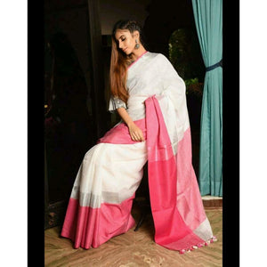 Linen 100 count white with pink pure organic handwoven saree with silver zari - Organic Linen sarees