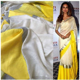 Linen 100 count white with yellow pure organic handwoven saree with silver zari - Organic Linen sarees