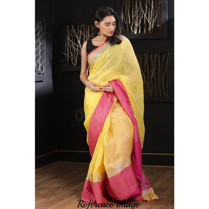 Linen 100 count yellow with pink pure organic handwoven saree with silver zari - Organic Linen sarees
