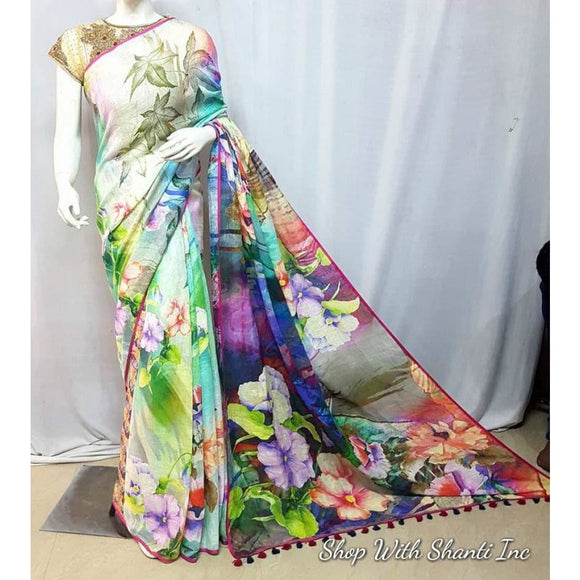 Linen by linen digital printed multi color pure organic handwoven saree with contrast silver zari border - Digital Printed Linen Sarees